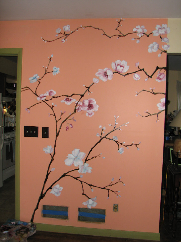 Mural painting cherry tree for girl 39 s day fresh paint for Cherry tree mural