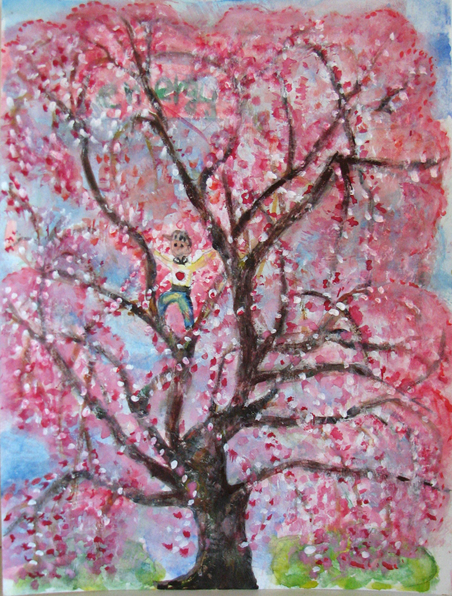 cherry blossom paintings will heal japanese victims from tsunami fresh paint - Japanese Garden Cherry Blossom Paintings
