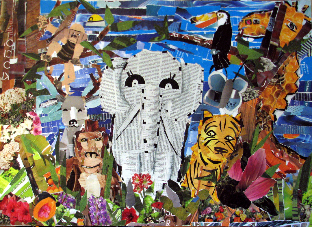 Animal kingdom paper collage mural fresh paint for Mural collage